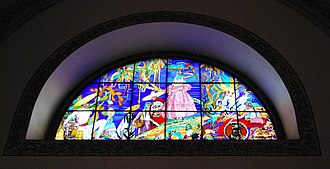 Roberto Montenegro - Stained glass work entitled La Vendedora de Pericos (The Parrot Seller) designed by Roberto Montenegro and Xavier Guerrero in the 1920s.