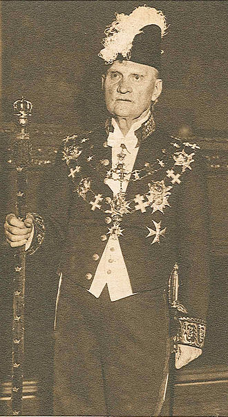 Marshal of the Realm (Sweden) - Axel Vennersten wearing the uniform of the Marshal of the Realm and the chain of the Order of the Seraphim.