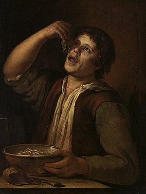 Noodle - Vermeer van Utrecht's painting of a man eating noodles (National Museum, Warsaw).