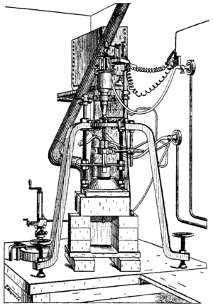 Verneuil process - A sketch of an early furnace used by Verneuil to synthesise rubies using the Verneuil process.