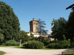 The Tower of Piazza Castello seen from the Salvi gardens.