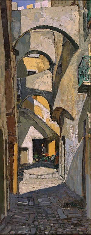 Buttress - Vicolo di Formia (1956) Oil painting by Antonio Sicurezza of an alleyway with buttresses between buildings