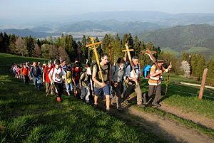 Pilgrims' way - A pilgrim procession in Carinthia in Austria
