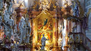 Basilica of the Fourteen Holy Helpers - Illuminated high altar.