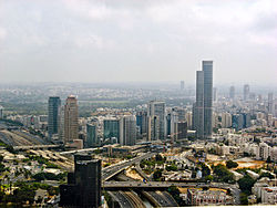 Ramat Gan skyline, with the Moshe Aviv Tower and Diamond Exchange District