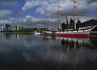 Glasgow Harbour - View from Govan across the River Clyde towards the Glenlee, the Riverside Museum and Glasgow Harbour apartments