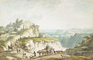 """View of Catanzaro (from """"Voyage Pittoresque, ou Description des royaumes de Naples et de Sicile"""" by Jean-Claude Richard Abbé de Saint Non)"""