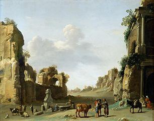 Vue de fantaisie du Campo Vaccino à Rome avec un âne