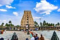 View of the Gopuram from inside the courtyard of the Chennakesava Temple - Belur.jpg