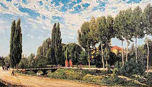 Villa Verdi - View of the setting of the Villa Verdi in an 1870 painting.