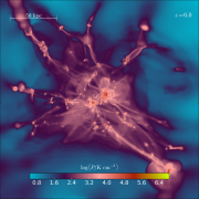 Views of a simulated primordial galaxy, pressure map.png