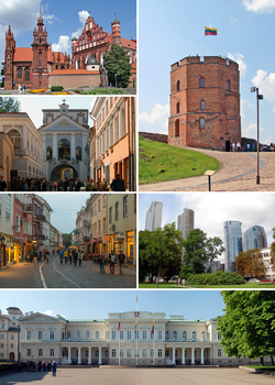 Clockwise: Gediminas' Tower, St. Anne's Church, gate of Dawn, Pilies Street, Vilnius business district, Presidential Palace.