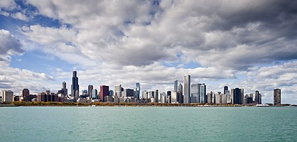 Chicago skyline with an approaching storm, Illinois, USA