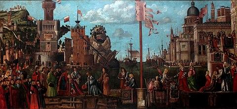 Vittore Carpaccio - Sant'Orsola polyptich - Incontro e partenza dei fidanzati.jpg