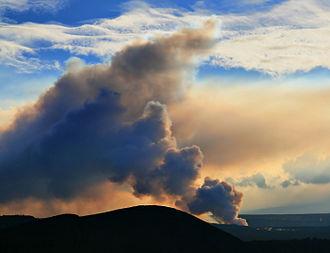 Vog - Sulfur dioxide emissions from the Halema{{okina}}uma{{okina}}u vent creates vog.