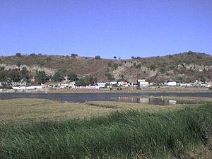 del Volcán de Xico, se aprecia una parte de las Lagunas de Xico