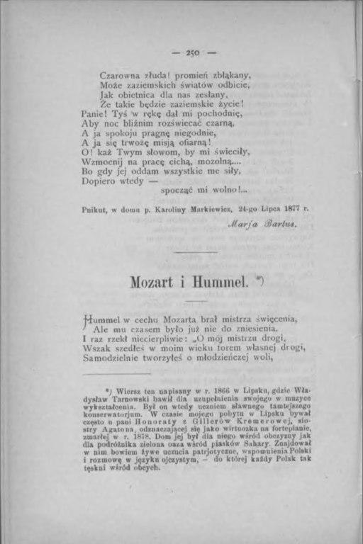Filewł Tarnowski Mozart I Hummel Rocznik Samborski R