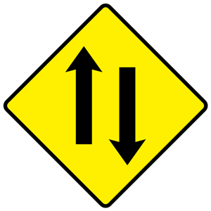 Comparison of traffic signs in English-speaking countries - Image: W080 Two Way Traffic Warning Sign Ireland