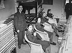 WAAF telephone operators in RAF Fighter Command's Sector 'G' Operations Room at Duxford, Cambridgeshire, receiving reports of enemy aircraft plots from Observer Corps posts, September 1940. CH1404.jpg