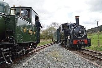 Welshpool and Llanfair Light Railway No.1 The Earl and No.2 Countess - Trains hauled by Countess and The Earl passing at Cyfronydd