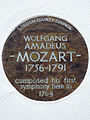 WOLFGANG AMADEUS MOZART 1756-1791 composed his first symphony here in 1764.JPG