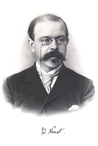 German scientist Walther Nernst portrait in the 1910s. Walther Nernst 2.jpg