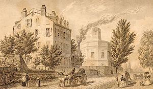 New York City Fire Department - First firefighting reservoir, behind school, 1831