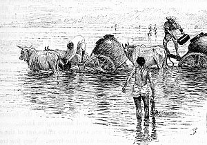 Sabarmati River - Watercarts in Sabarmati near Ahmedabad in 1890s