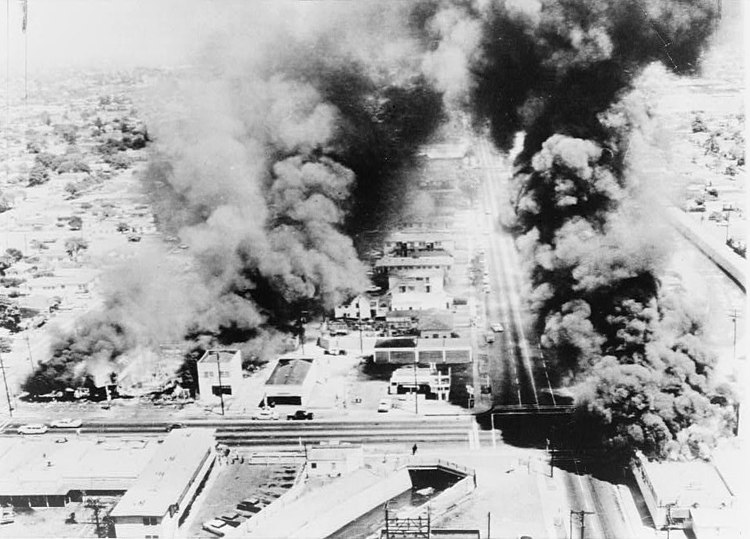 Burning buildings during Watts Riots