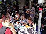 File:WeHo Book Fair 2010 - Esther Pearl Watson, Ariel Schrag, and Hope Larson sign for fans (5028647830).jpg