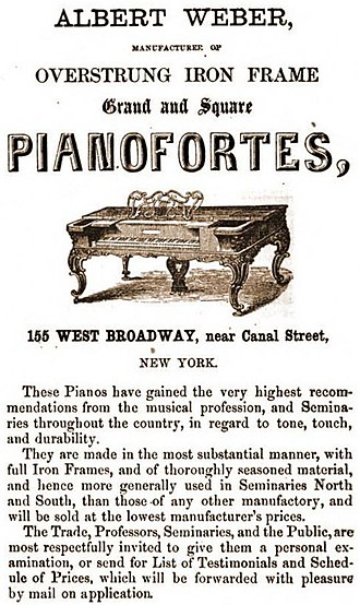 Weber Piano Company - Weber Piano Fortes - 1860s Weber Square Piano Advertisement