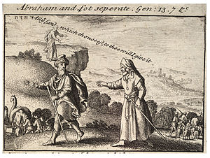 Depiction of the separation of Abraham and Lot...