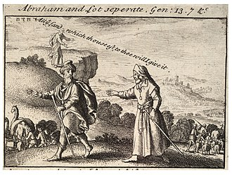 Lot (biblical person) - Depiction of the separation of Abraham and Lot by Wenceslaus Hollar.