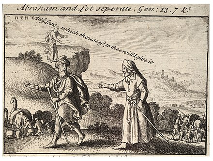 Abraham and Lot separate. Gen: 13.7 &., etching by Wenceslaus Hollar, 17th century (Thomas Fisher Rare Book Library, Toronto) Wenceslas Hollar - Abraham and Lot separating (State 2).jpg