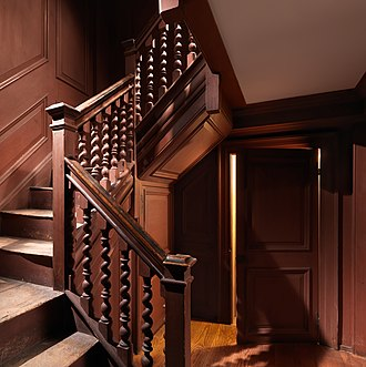 John Wentworth (lieutenant governor, born 1671) - The Metropolitan Museum of Art purchased the Wentworth house in 1926, and moved portions of the interior to the museum.  The house was unusually grand in scale, and the spiral-turned balusters are the earliest known in New England.