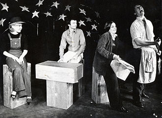 Westbeth Playwrights Feminist Collective - ?! A Musical Revue showing scene from Trading Places by Gwen Gunn. Actors (l-r) Kristen Christopher, Richard Darrow, Lois Beckett, Norman Thomas Marshall. 1973 Photo by Cookie Cirillo
