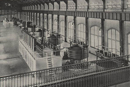 Ten 5,000 HP Westinghouse generators at Edward Dean Adams Power Plant Westinghouse Generators at Niagara Falls.jpg