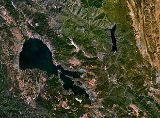 Clear Lake (California) - Satellite photo of Clear Lake (the larger lake to the west) and Indian Valley Reservoir