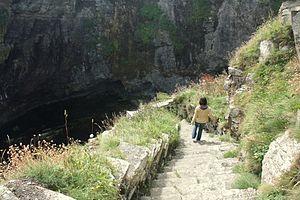 Whaligoe - Descending the Whaligoe Steps.