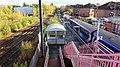 Whifflet railway station, Coatbridge, Scotland - platform looking east from pedestrian bridge.jpg