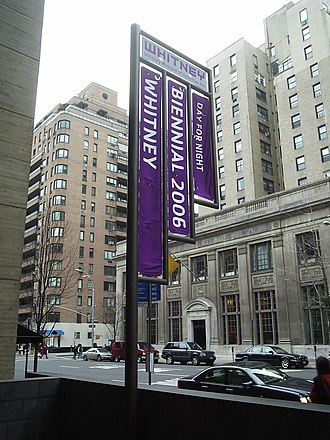 Whitney Biennial - The banner of the 2006 Whitney Biennial: Day For Night in front of the Whitney Museum of American Art.