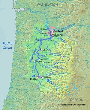 Willamette River Map Course of the Willamette River   Wikipedia