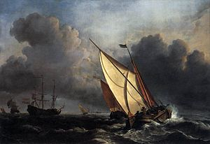 1672 in art - Image: Willem van de Velde the Younger, Ships on a Stormy Sea (c. 1672)