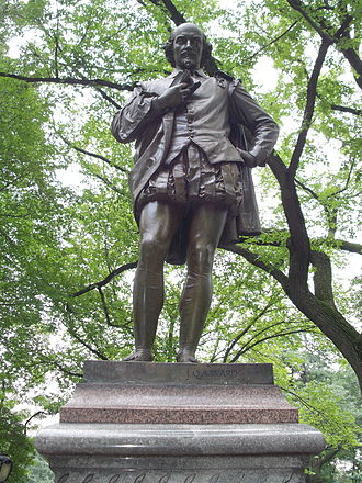 Memorials to William Shakespeare - Statue in Central Park, New York, by John Quincy Adams Ward, 1872.