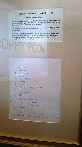 1972 European Cup Winners' Cup Final - Rangers UEFA Cup Winners' Cup final 1972 teamsheet