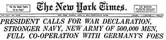 Timeline of United States diplomatic history - New York Times April 3, 1917