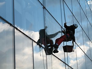 a window cleaner using a bosuns chair