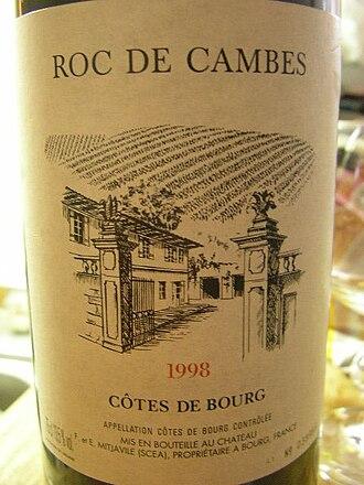 Côtes de Bourg - A wine labeled from the Côtes de Bourg AOC.