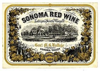 Vallejo Estate - Image: Wine label Lachryma Montis Vineyard,Sonoma Red Wine 1858
