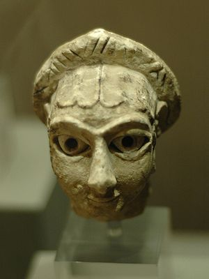 Khafajah - Limestone human head found at Khafajah, Early Dynastic II (c. 2700 BC)